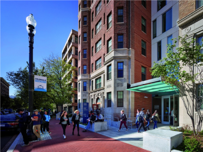 Exterior of H Street entrance, with students going in and out of building