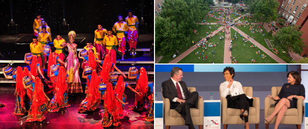 Photo collage: a dance performance at Lisner, an aerial shot of University Yard, a panel of speakers at Jack Morton Auditorium