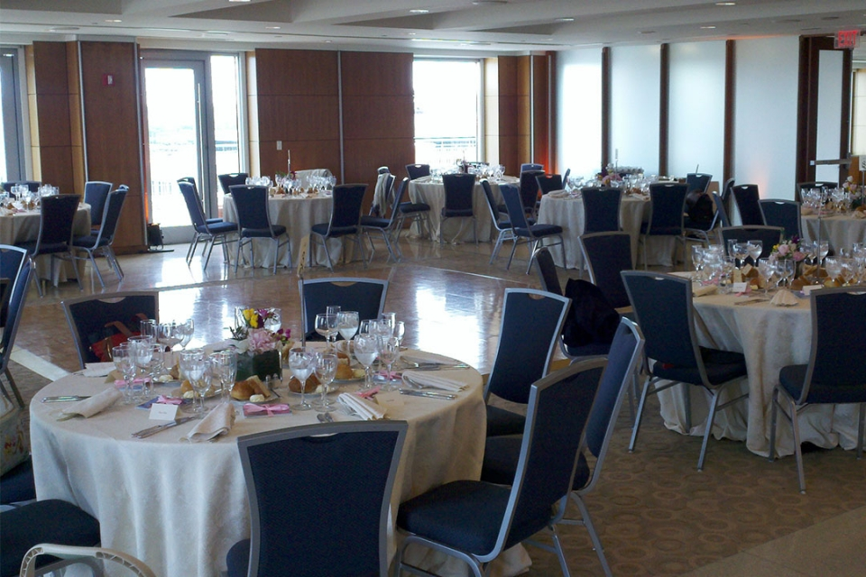 City View Room tables and chairs set in banquet style