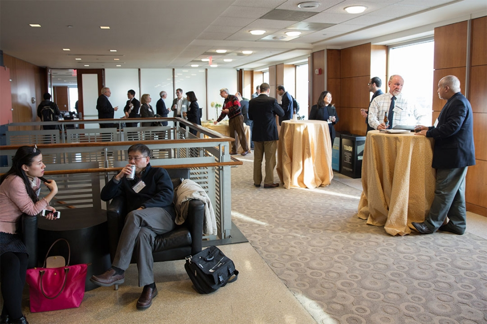 Reception with guests in the City View Room Lobby