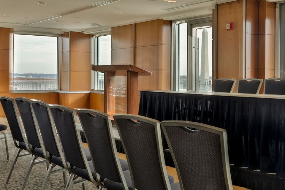 City View Room set theater style with the Washington Monument in the background