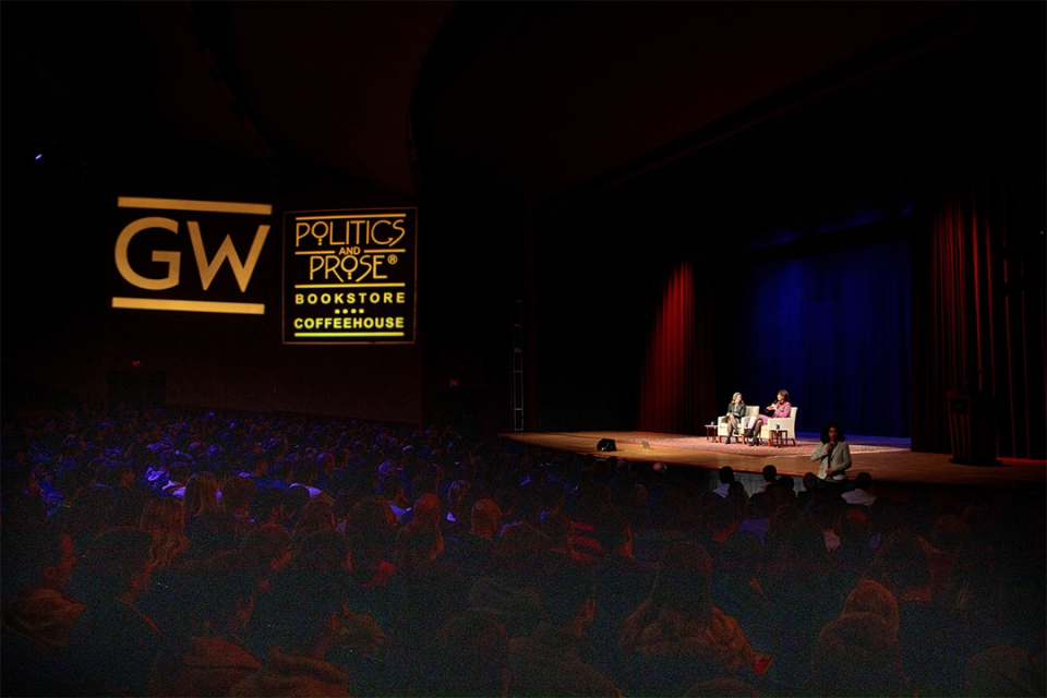 Politics and Pros and GW Presents event with speakers on stage