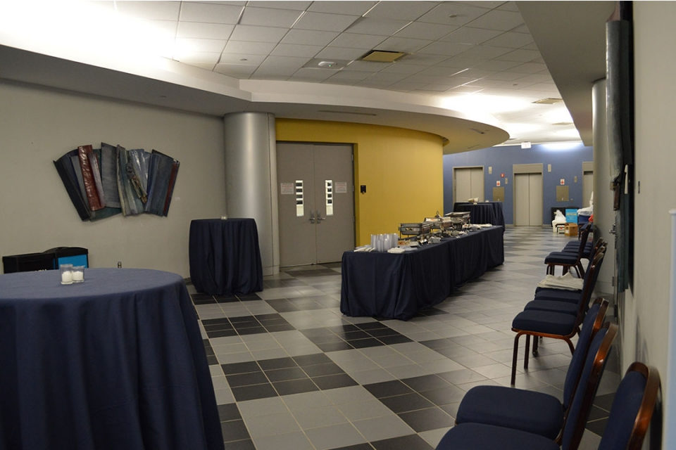 Lower Level Lobby set for a reception