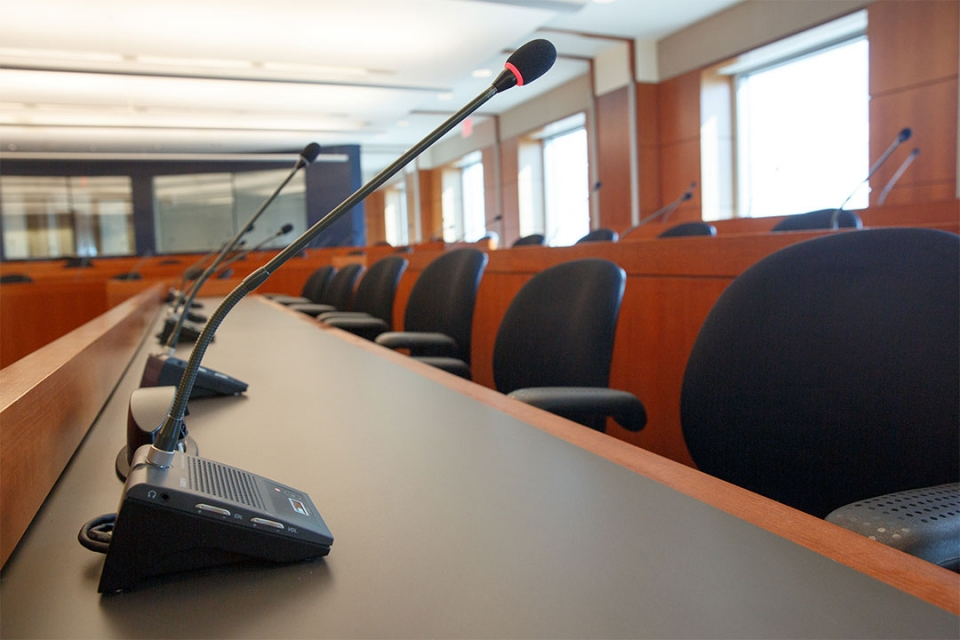 State Room microphone at each seat