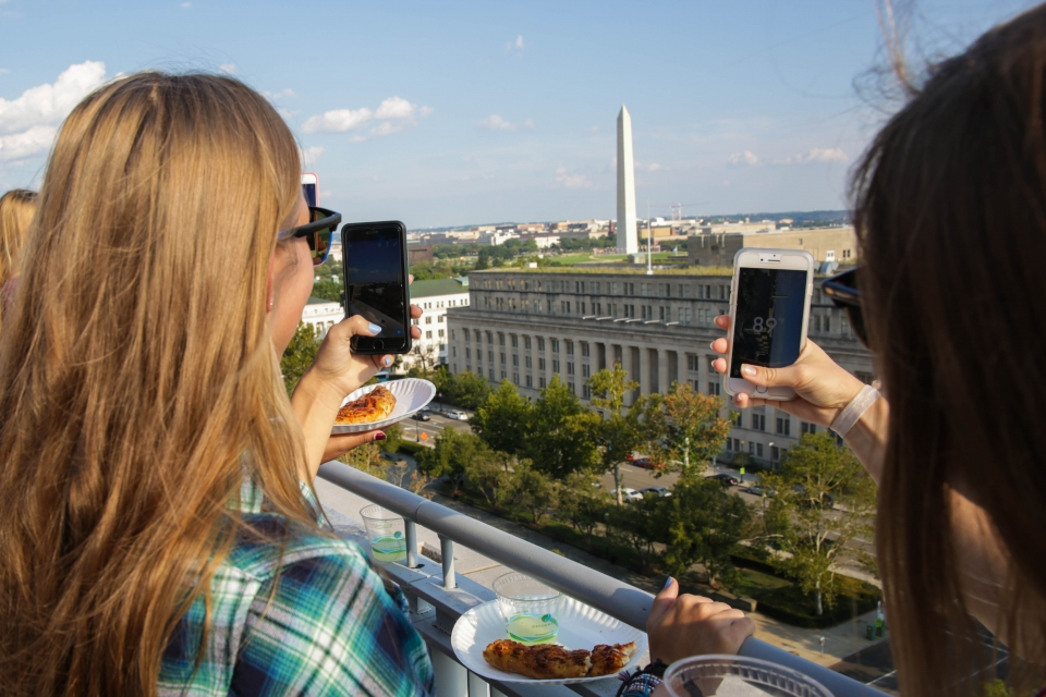 City View Room Terrace with Students taking pictures of the National Mall